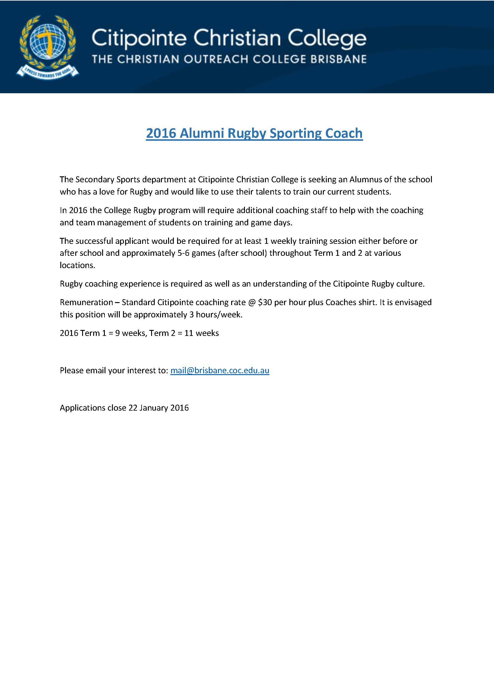 Rugby Coach 2016